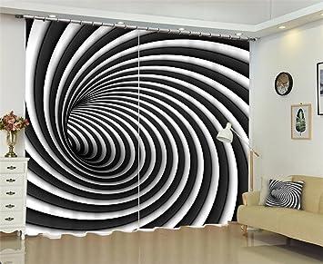 Vorhänge 3D Schwarz-Weiß-Whirlpool drapieren Blackout ...