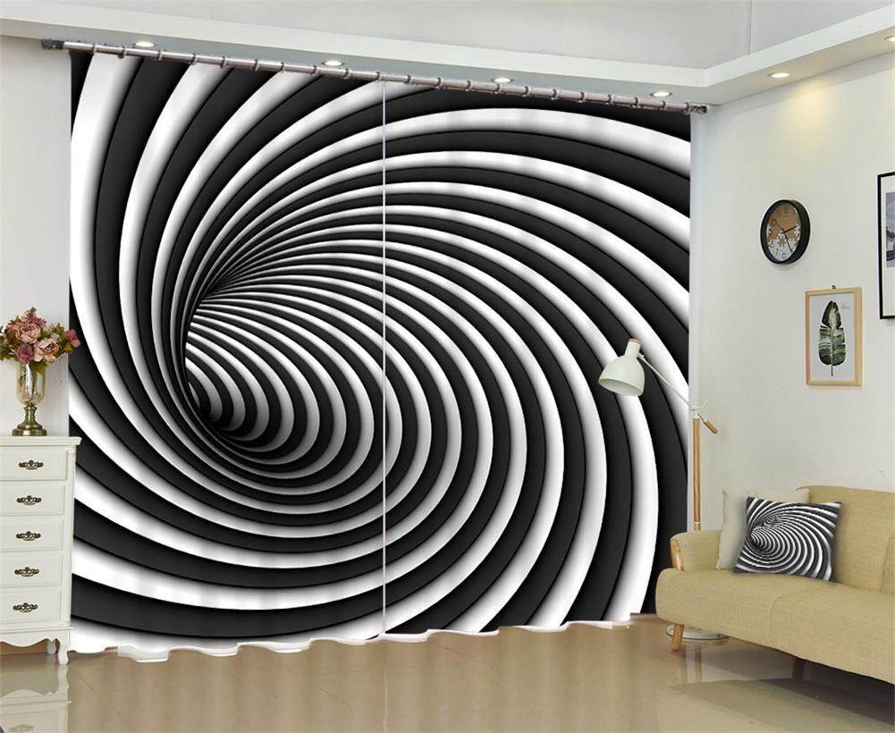 Dbtxwd Curtains 3D black and white Whirlpool drape Blackout Window Drapes For Bedroom living room Panel Curtain , wide 3.6x high 2.7