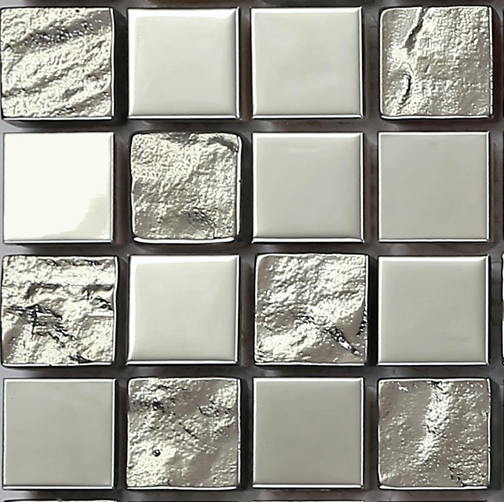 Polished Stainless Steel and Textured Silver Glass Mosaic Wall Tiles ...