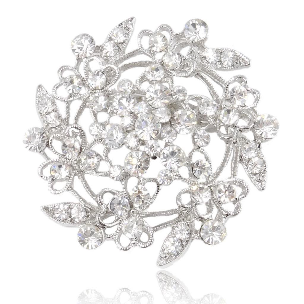 EVER FAITH Austrian Crystal Bridal Heart Flower Filigree Brooch Clear Silver-Tone