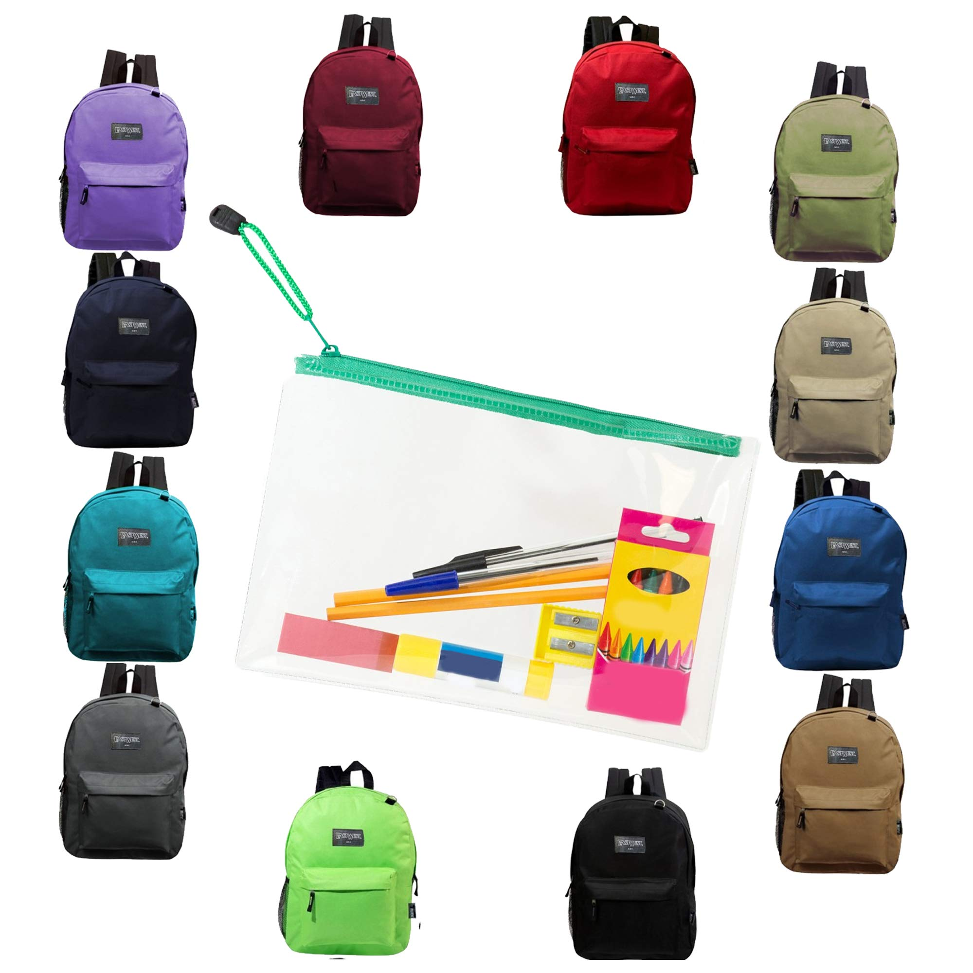 17 Inch Wholesale Backpacks in Assorted Colors with 12 Piece School Supply Kits Bulk Case of 24 (12 Color Assortment) by Moda West