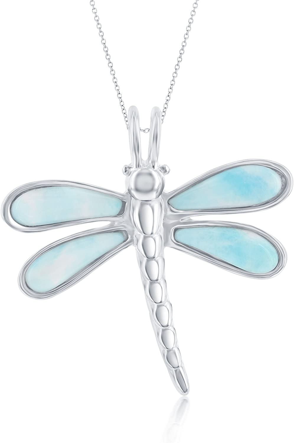 Vintage Blue Gemstone Dragonfly Pendant on Chain Earth and Vegan Friendly Sterling Silver Larimar Heart Dragonfly Pendant Necklace