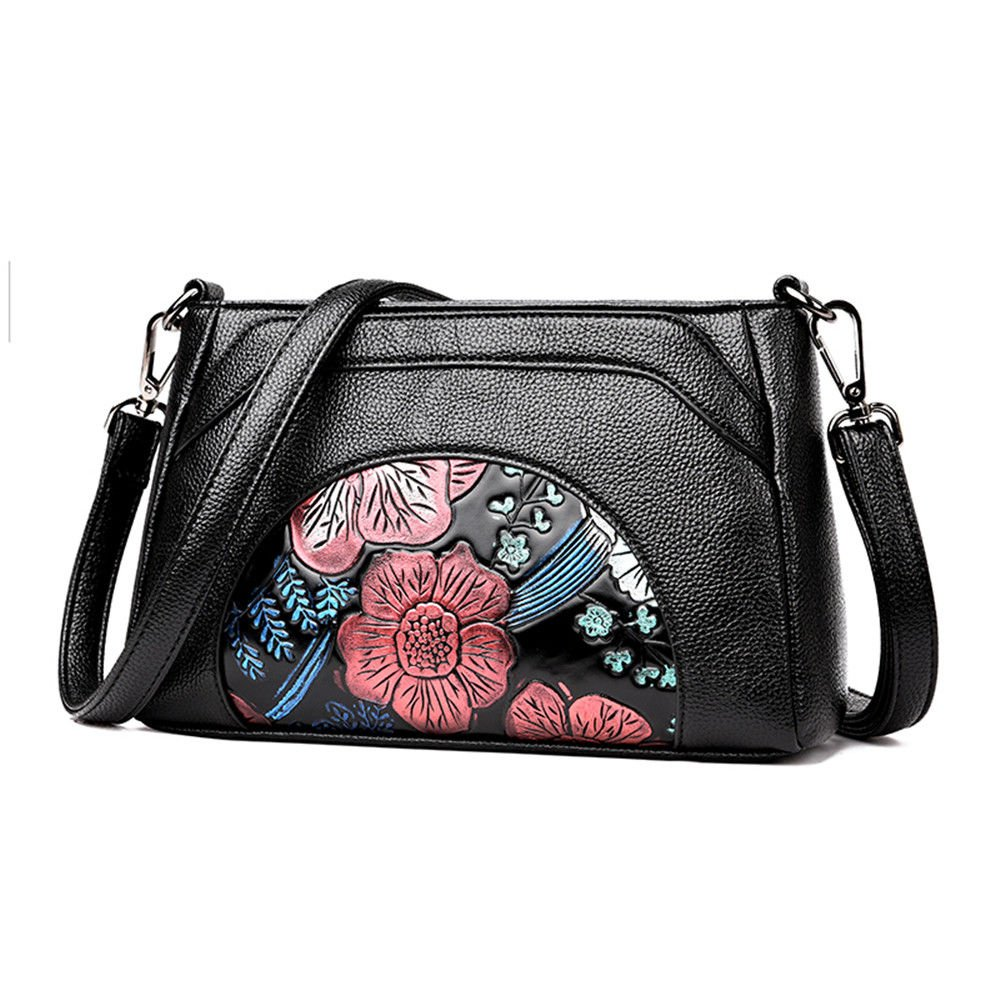 Leather Calico Printing Small Square Bag With Single Shoulder Slanted Span,Black/A,24X17X9Cm
