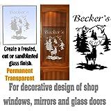 Deer Buck Mountains DIY Etched Glass Vinyl Gun Cabinet Window Front Door GC07B