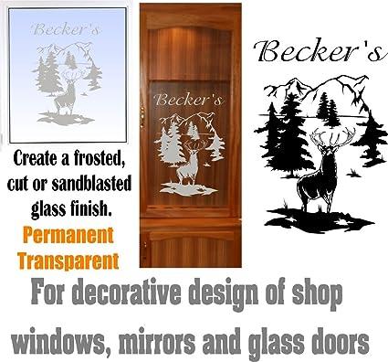 Amazon Deer Buck Mountains Diy Etched Glass Vinyl Gun Cabinet