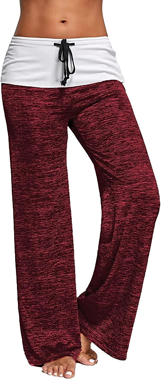 chimikeey Women Foldover Heather Wide Leg Pants Loose Yoga Legging