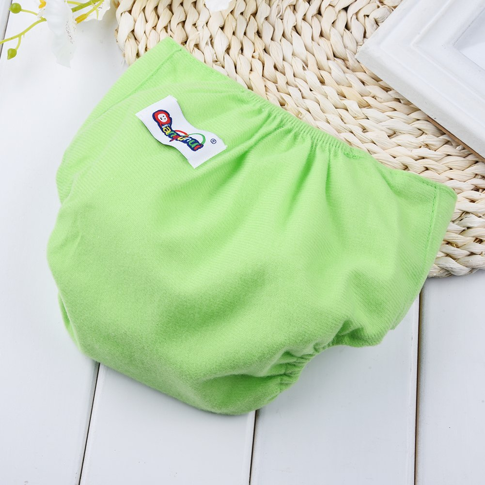 Yellow Luerme Baby Newborn Washable Reusable Adjustable Cotton Diaper Infant Underwear Cloth Nappies for 0-12 Months