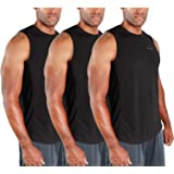 DEVOPS Men's 3 Pack Cool Dry Fit Muscle Sleeveless Gym Training Performance Workout Tank Top