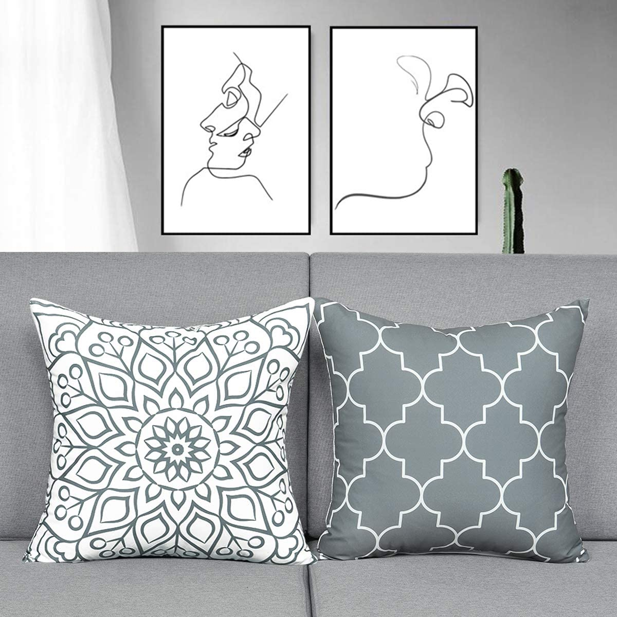 Fascidorm Set of 2 Grey Decorative Pillows with Inserts Modern Throw Pillows Cushion Pillows for Bed Sofa Chair Car 18 x 18 Inch