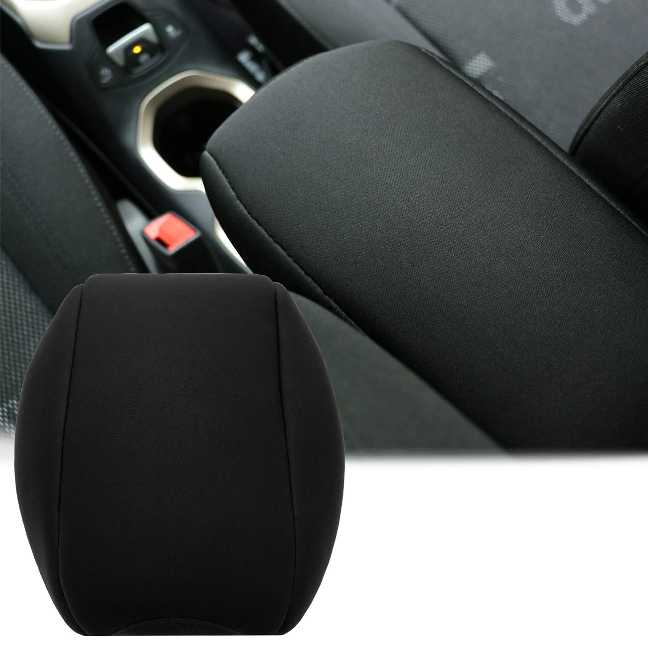 Yoursme Neoprene Center Console Armrest Pad Cover Protector Cushion Fit for Jeep Renegade 2015 2016 2017 (BLACK DOG PAW)