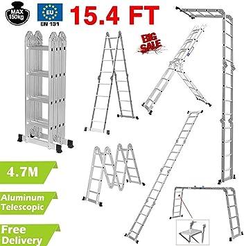 4,7 m multiusos aluminio plegable extensión escalera escalera andamio bandeja de herramientas UK: Amazon.es: Bricolaje y herramientas