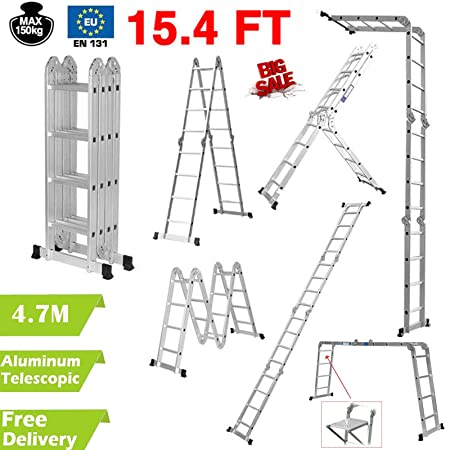 4 7M Multi-Purpose Aluminium Folding Extension Ladder Step