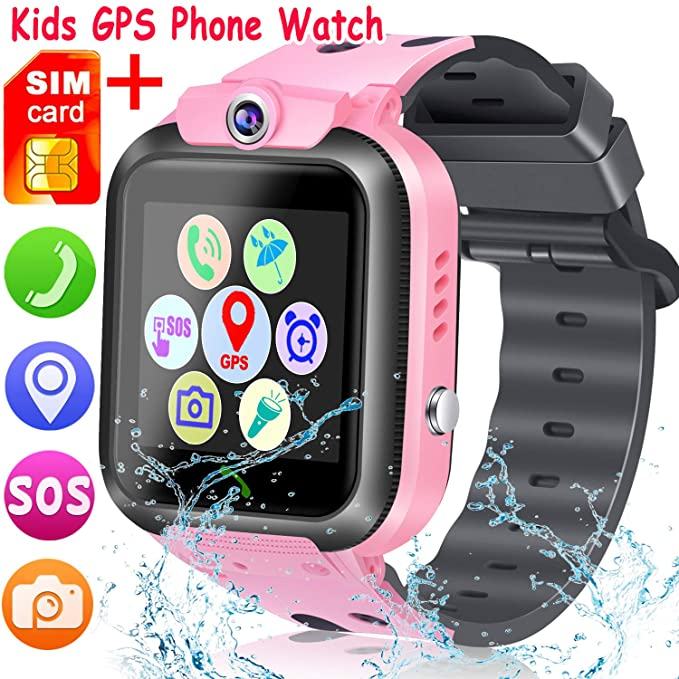 [SIM Card Included] Kids Smart Watch Phone, Waterproof Smartwatches for Children with GPS Tracker Anti-Lost SOS Call Touch Screen Voice Chat for Boys ...
