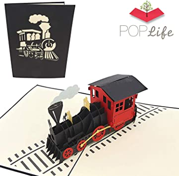 Amazon.com: Poplife Motor Tren de vapor 3d Pop Up Cards ...