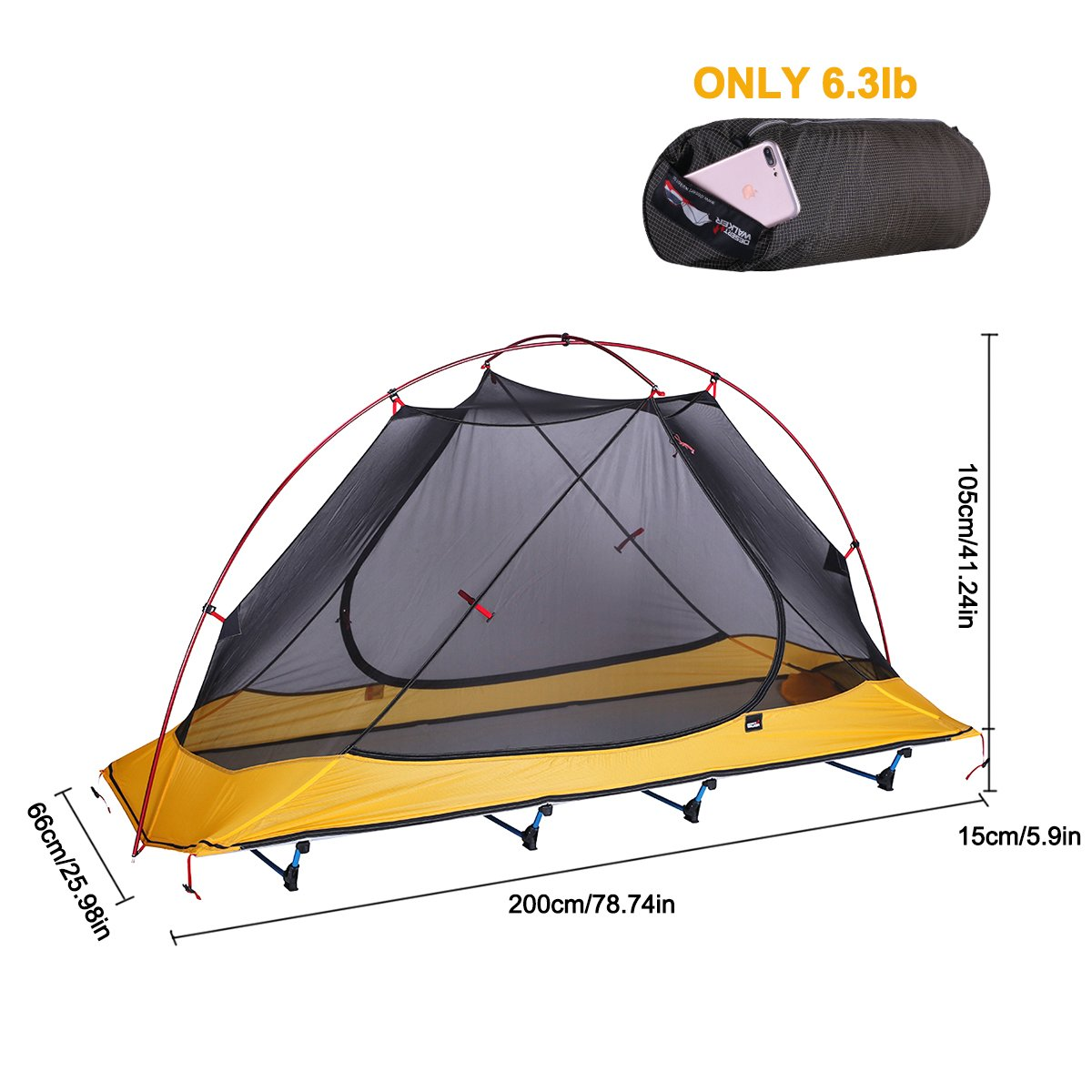 Uboway Ultralight Camping Tent Cot Off Ground Tent with Carrying Bag for Camping, Hiking, Adventure Trip