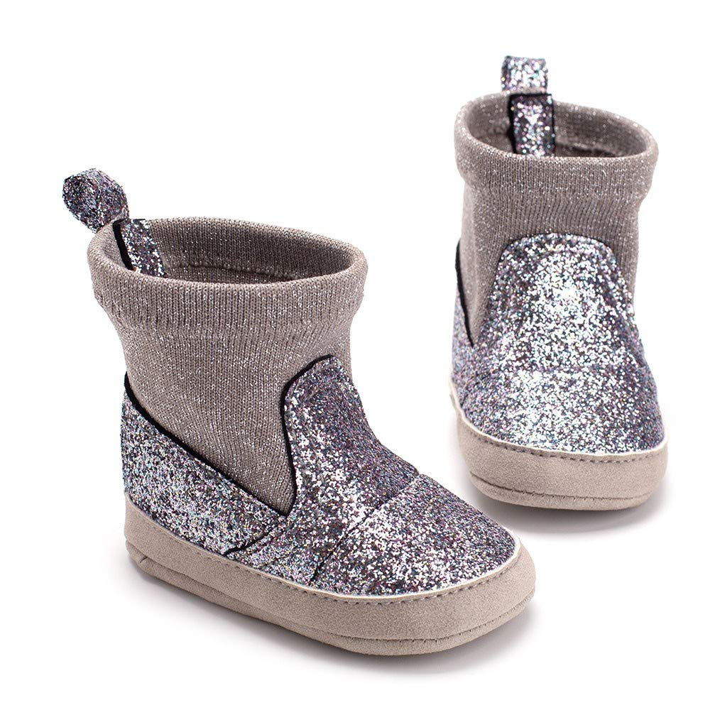 Baby Girls Winter Snow Boots Toddler Newborn Fur Lined Warm Soft Sole Crib Shoes