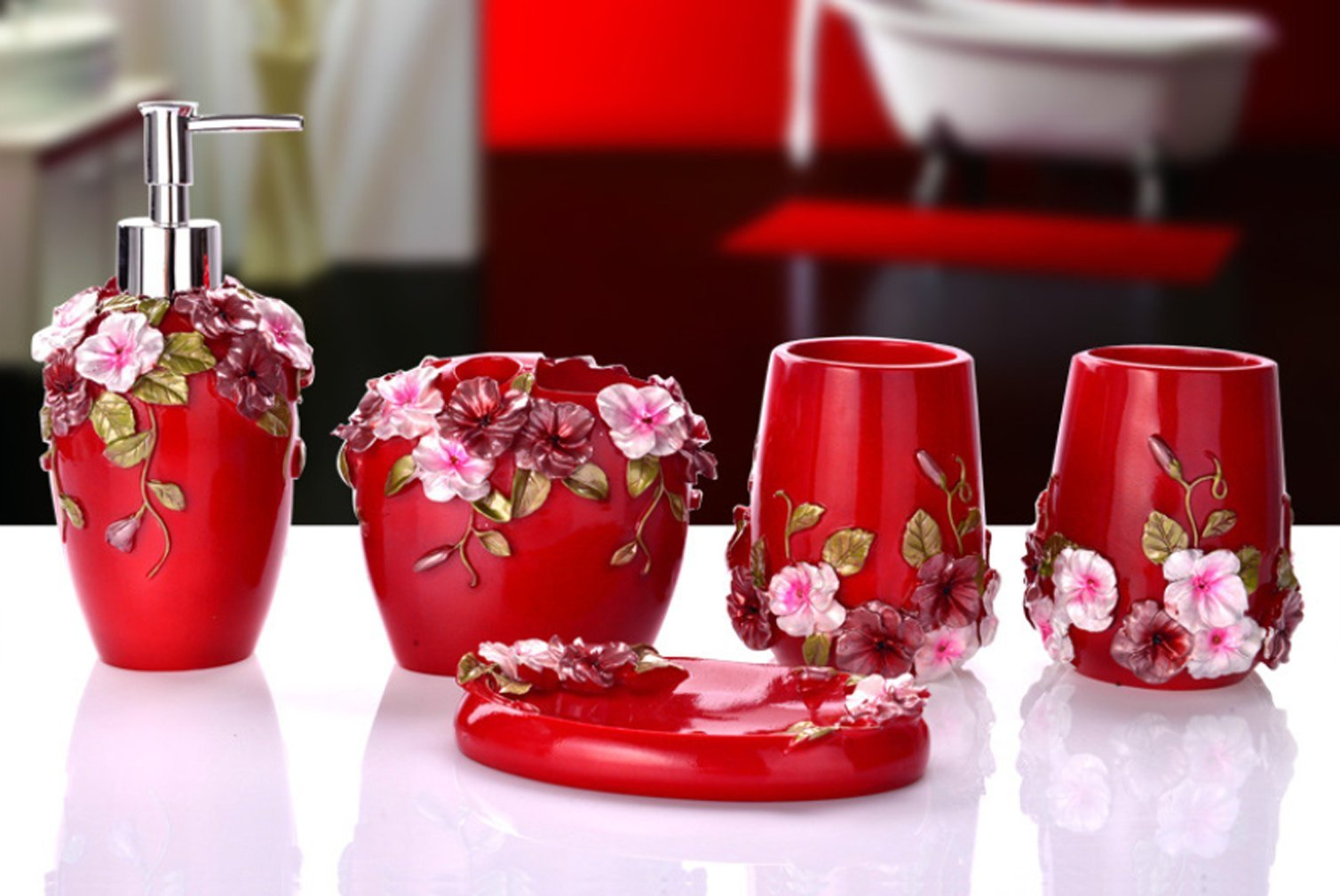 Yiyida Country Style 3D Flowers Resin 5Pcs Bathroom Accessories Set Soap Dispenser/Toothbrush Holder/Tumbler/Soap Dish (Red)
