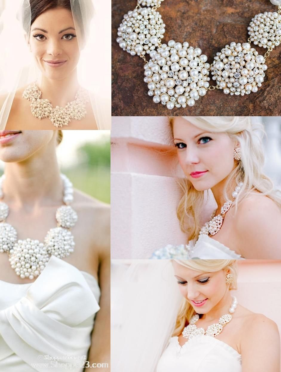 White Pearl Statement Necklace Set Elegant Fashion Jewelry Boxed (#156) (silver-plated-base) by Shoppe23 (Image #3)