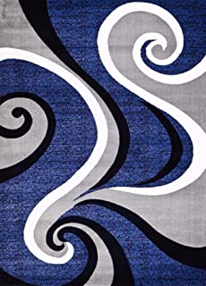 0327 Blue White Gray 5 X 7 Area Rug Abstract Carpet By Persian Rugs