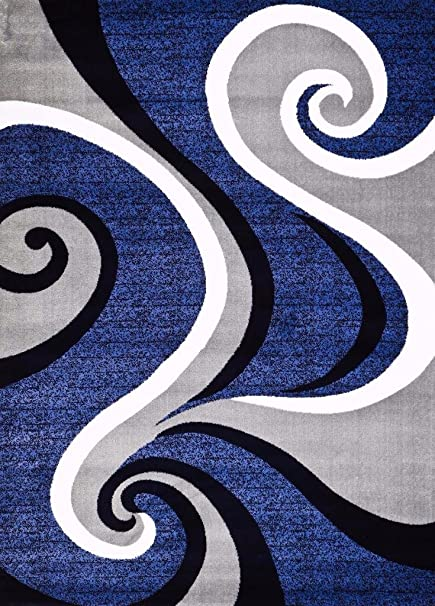 Amazoncom 0327 Blue White Gray 5 X 7 Area Rug Abstract Carpet By