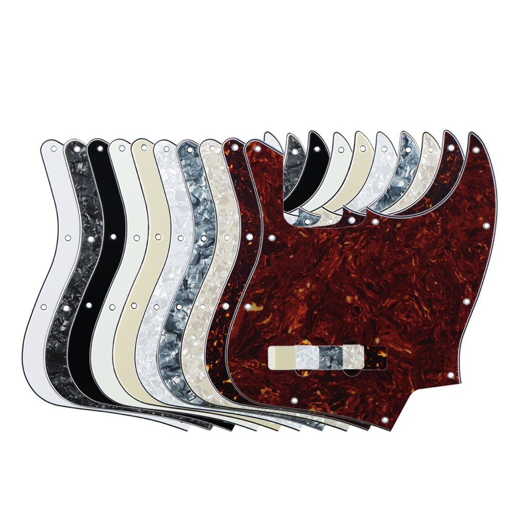 FLEOR Pack of 10pcs Mixed Colors 3Ply & 4Ply JB Jazz/J Bass Pickguard Scratch Plate, 10 Hole