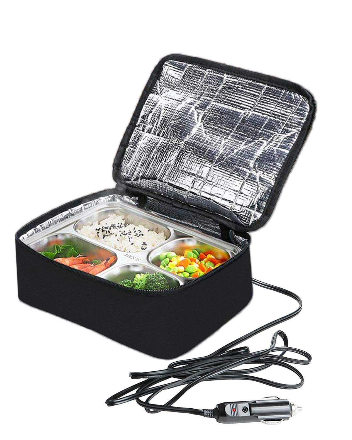 Big Ant 12V Car Heated Lunch Box Portable Lunch Food Warmer Oven for Outdoors Travel and Camping(Black)
