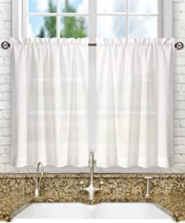 Ellis Curtain Stacey 56 By 24 Inch Tailored Tier Pair Curtains White