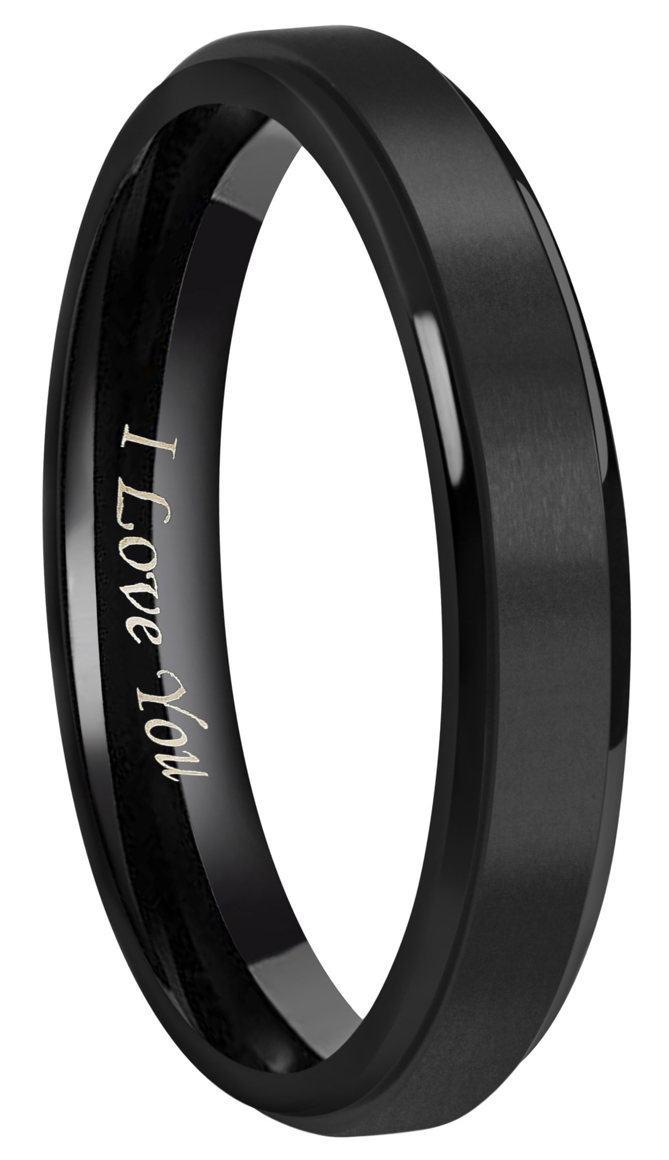 4mm 6mm 8mm Black Titanium Wedding Couple Bands Rings Men Women Matte Center Step Down Edges Engraved ''I Love You'' Comfort Fit Size 4 To 16 (4mm,5)