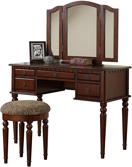 Amazon Com Vanity Set With Mirror And Stool Vintage Antique