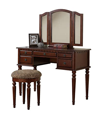 Vanity Set with Mirror and Stool Vintage Antique Makeup Dresser for Women  Table Drawer Organizer Bedroom Furniture… (Cherry)