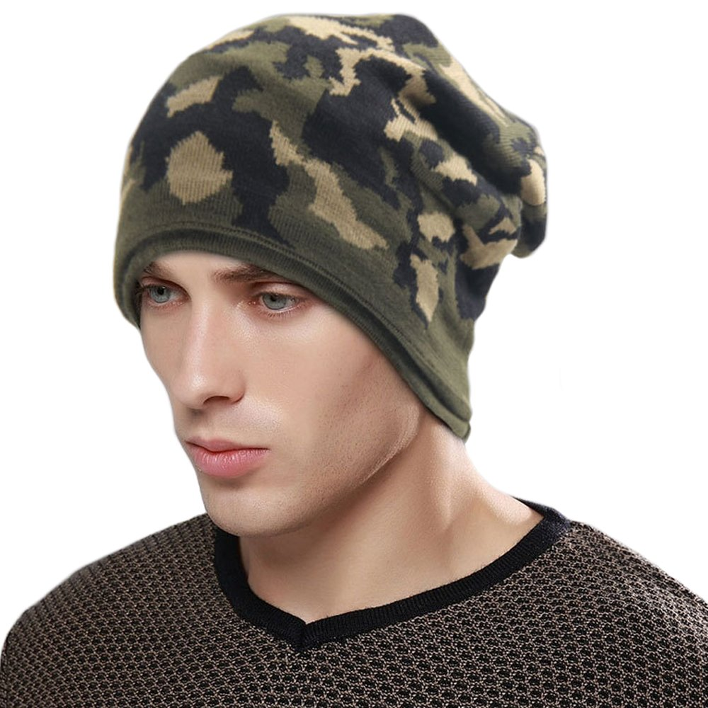 NKIPORU Unisex Slouchy Winter Hats Knitted Beanie Boyfriend's Skull Caps Warm Ski Hat (Camouflage 1)
