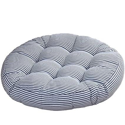 Redsun Cotton Linen Round Chair Cushion,Floor Pillow Cushion Round Stuffed  Cushion,Thick Stripe