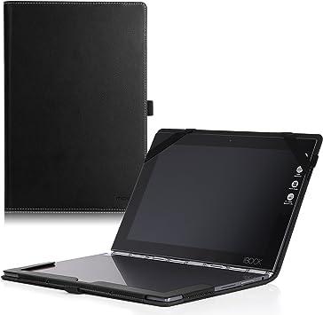 MoKo Lenovo Yoga Book Case, Ultra Compact Slim Folio Leather Cover Case for Lenovo Yoga Book YB1-X90F, YB1-X91F 10.1 Inch 2-in-1 Tablet/Laptop, Black