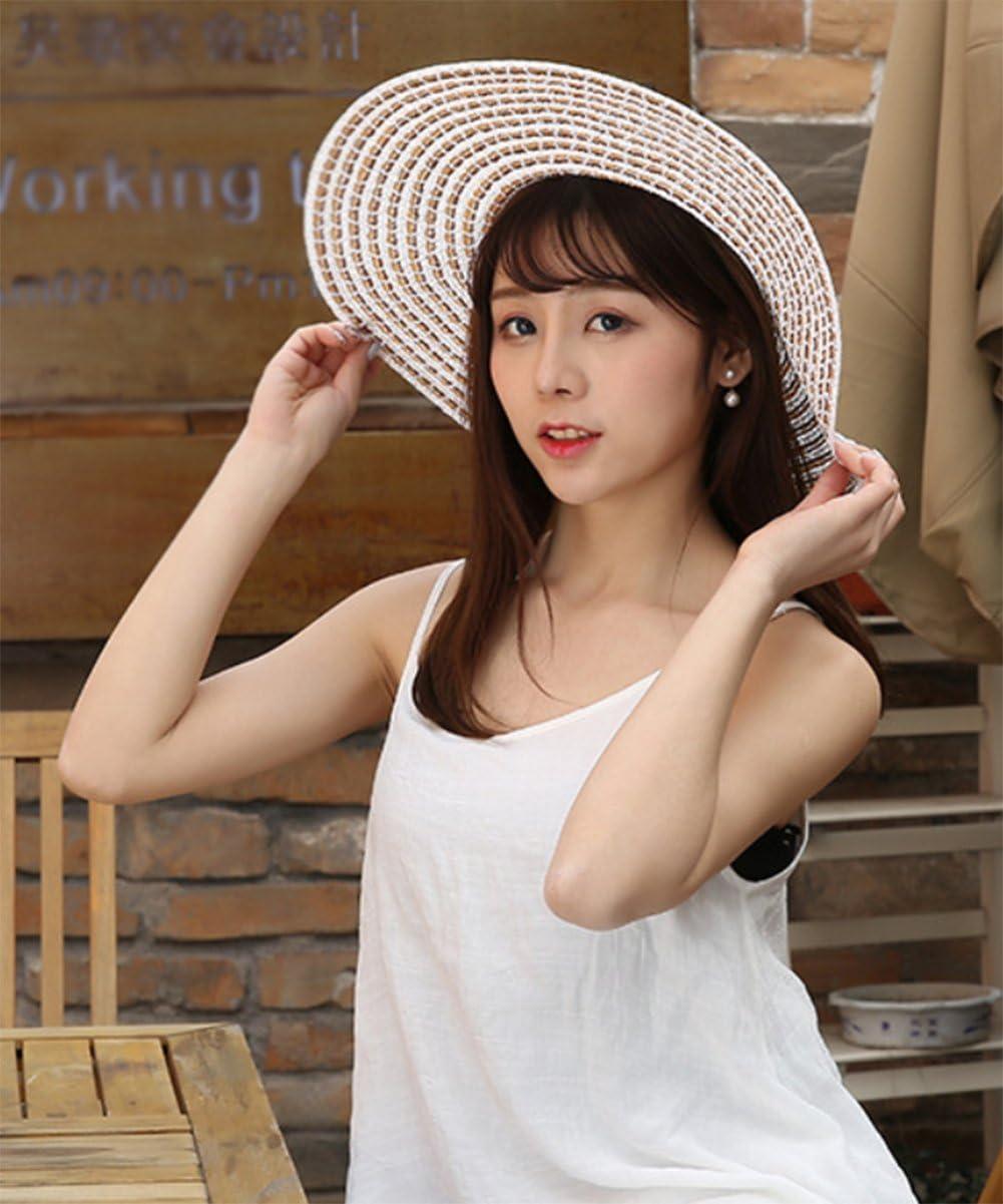 Cdet Playa sombrilla Sombrero de Playa Plegable Sombrero de Sol Femenino Sombrero de Sol de Vacaciones Caqui