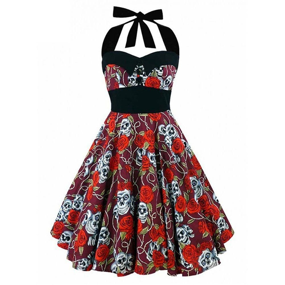 cc0f9b0106cab 50s 60s Rockabilly Dress Skull Print Swing Pinup Retro Housewife Party Dress