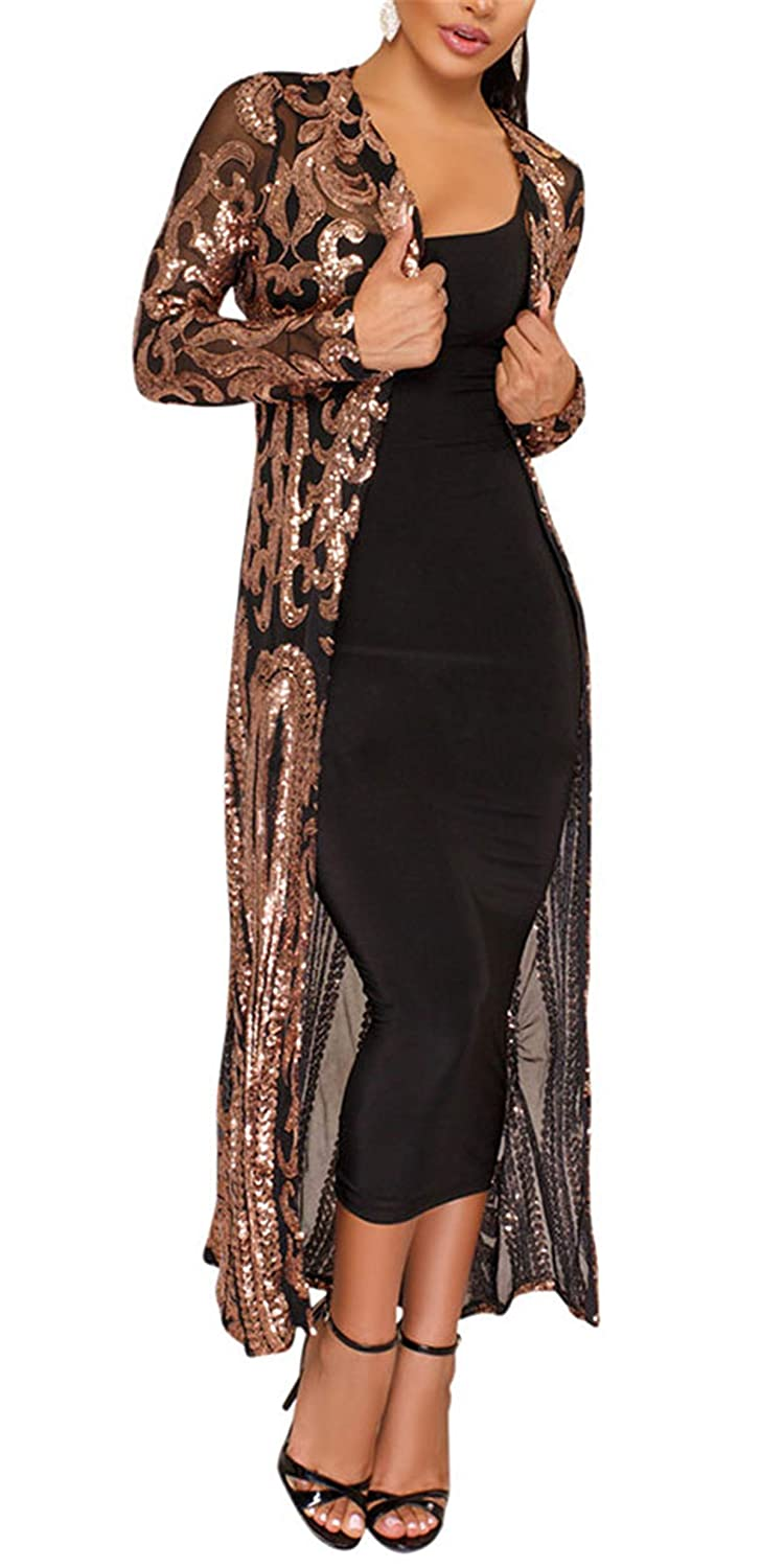 1920s Shawls, Scarves and Evening Jacket Tips Womens Autumn Cover Up Long Sleeve Sequins Loose Open Front Cardigan Coat Dress $38.99 AT vintagedancer.com