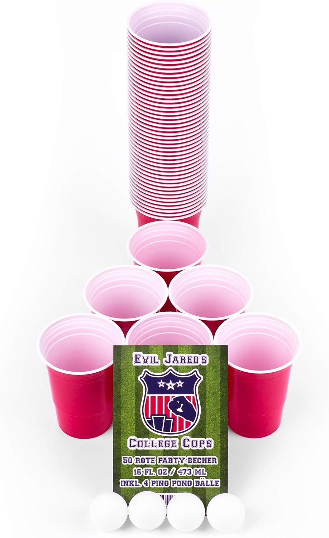 Evil JARED's College Cups | 50 Vasos Rojos (480 ml) + 4 Bolas de Beer Pong | Vasos y Bolas para Fiesta Universitaria | Kit Lavable y Reutilizable