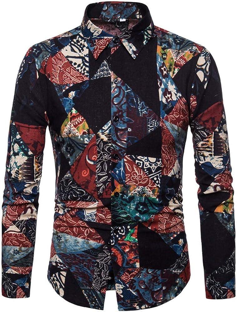Venta estándar de Manga Larga Yvelands Hombres Slim-Fit Botones de impresión Camisa de Manga Larga Camiseta Blusa(Multicolor, S): Amazon.es: Ropa y accesorios