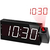 """Projection Alarm Clock Radio,Wall Ceiling Clock with FM Radio,350°Projector,USB Charger,Sleep Timer,7"""" Large Display & 5…"""