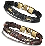 Amazon Price History for:FIBO STEEL Leather Bracelet for Men Braided Wrist Cuff Vintage, 8.5inches