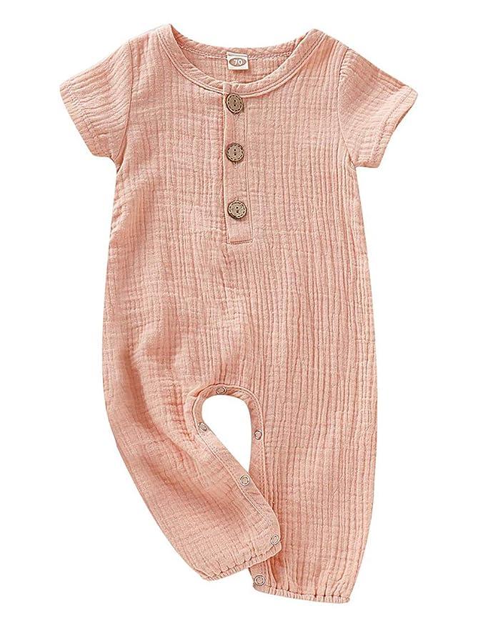 896256fb43736 fiercewolf Newborn Baby Girls Boy Romper Solid Jumpsuit Linen Cotton Infant  Summer Clothes