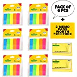 JD9 Sticky Notes, Mini Text Highlighter Strips 6 Sets Neon Colored Index Tabs Flags Fluorescent Sticky Note for Marking for Page Marker (Total 750 Flags).