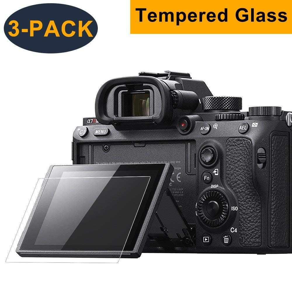 CAVN 3 Pcs Tempered Glass Screen Protector for Sony Alpha a7RIII A7R3 A9 A7II A7RII A7SII A77II A99II RX100 RX100V RX1 RX1R RX10 RX10II Camera Full Coverage Edge to Edge