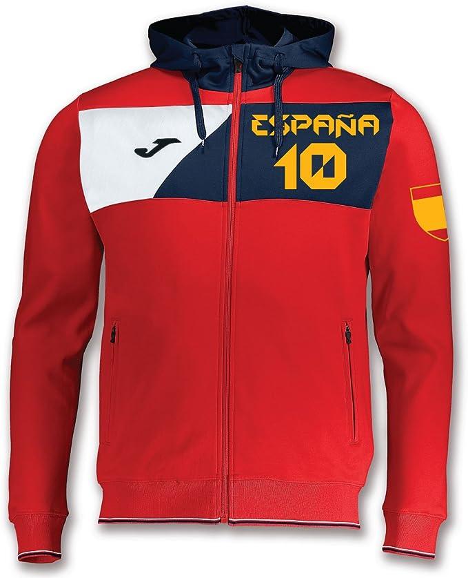 KiarenzaFD Joma – Sudadera Cremallera con Capucha Hombre – España 10 Custom Printing, Rojo: Amazon.es: Deportes y aire libre