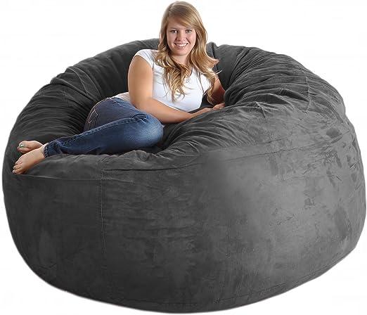 6 ft Round Charcoal Grey Huge Foam Beanbag Chair SLACKER