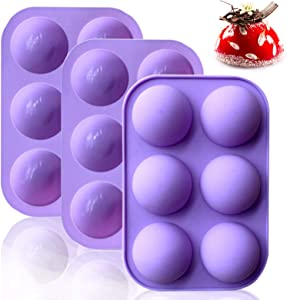 3 Pcs Large 6-Cavity Semi Sphere Silicone Mold Half Ball Nonstick Cake Mold Food Grade Silicon Dome mold for Making Hot Chocolate Bomb Half Circle Muffin Cookie Baking Mould Pan Tray for Cake Jelly