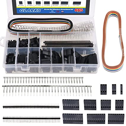 Glarks 635Pcs Connector Housing Male/Female Pin Connector 40 Pin 2.54mm Pitch Pin Headers and 10 Wire Rainbow Color Flat Ribbon IDC Wire Cable ...