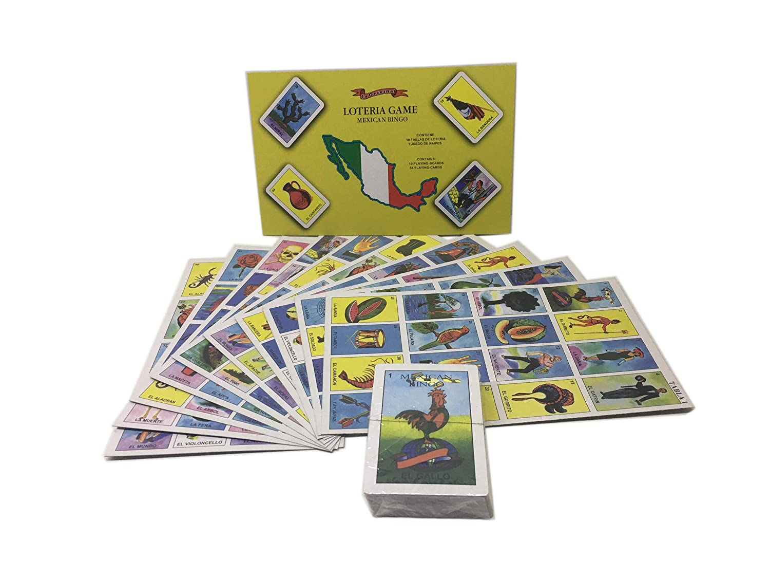 54 Playing Cards UM24 La Original Loteria Mexicana Mexican Bingo 10 Playing Boards