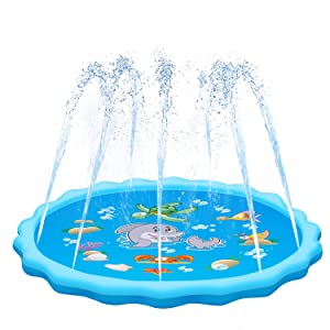 "QPAU Sprinkler for Kids, Sprinkle and Splash Play Mat 68"",Outside Toy Water Toys for Kids Outdoor, Outdoor Toys for Toddlers Age 3-5"