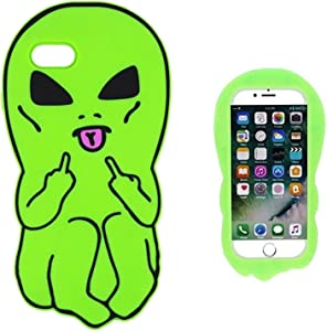 Artbling Case for iPhone 5 5S 5C SE Silicone 3D Cartoon Animal Cover,Kids Girls Boys Cool Cute Gost Cases,Kawaii Soft Gel Rubber Unique Fun Character Fashion Funny Protector for iPhone5 (Green Alien)